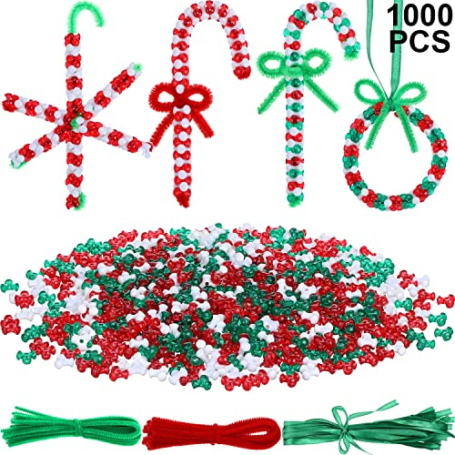 650 Pieces Christmas Beaded Ornament Kit Includes 300 Pieces Plastic Christmas Craft Pony Beads 300 Pieces Plastic Tri-Shaped Beads 50 Pieces Glitter Chenille Stems for Christmas DIY Craft Decoration