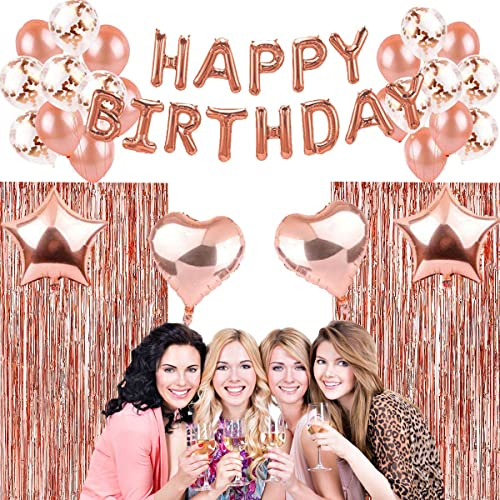 Balloon Ribbon for Girl Birthday Party Decorations Rose Gold Happy Birthday Balloon Banner Latex Confetti Balloon Foil Fringe Curtain Foil Tablecloth Hanmulee Rose Gold Birthday Decorations