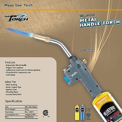 MR.TORCH Trigger Start Handy Gas Welding Torch Head Only MAPP MAP-pro Propane