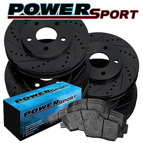Fit Infiniti G35 G37 Front Rear Black Drilled Brake Rotors+Ceramic Brake Pads