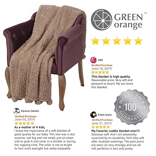 Soft GREEN ORANGE Fleece Blanket Fuzzy Throw for Couch Pom Poms White Plush Twin Size 60x80 Fluffy Cozy Perfect for Bed Sherpa Sofa