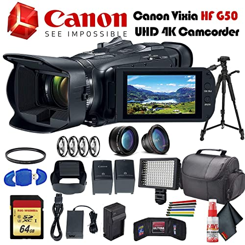 """Extended Life BP727 Spare Battery More 3000mAh + 57/"""" Lightweight Tripod Canon VIXIA HF R800 Camcorder White /& 9PC Starter Accessory Bundle Includes: SanDisk Ultra 128GB SDXC Memory Card"""
