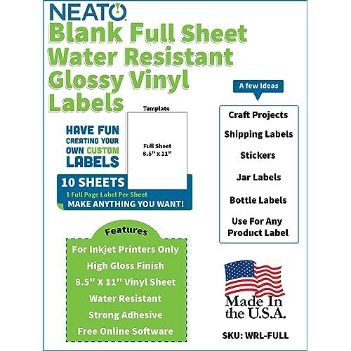 "8.5/""x11/"" Glossy Full Sheet Sticker Photo Paper for inkjet printers 10 Sheets"
