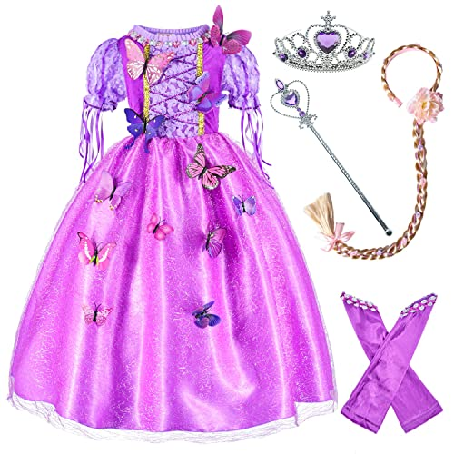 CHTENG Rapunzel Hair for Kids Tangled Dress Costumes Child Wig Hairpin