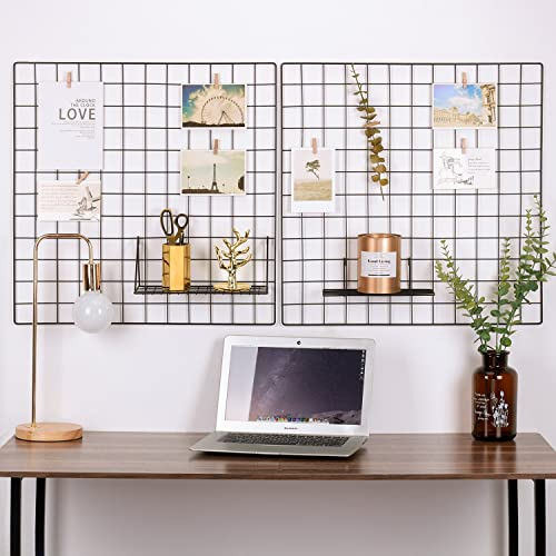 Buy Kaforise Painted Wire Wall Grid Panel Multifunction Photo Hanging Display And Wall Storage Organizer Pack Of 2 Size 23 6 X 23 6 Square Black Online In Thailand B07yv4gvhx