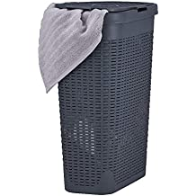 Buy Superio Narrow Laundry Hamper 40 Liter With Easy Lid Slim And Tall Grey Durable Wicker Hamper Washing Bin With Cutout Handles Dirty Cloths Storage In Bathroom Or Bedroom Apartment Dorms