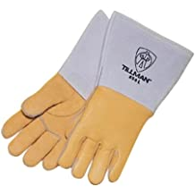 Tillman Medium Gold Top Grain Pigskin Unlined Premium Grade MIG Welders Gloves With Straight Thumb 4 Cuff And Kevlar/® Lock Stitching