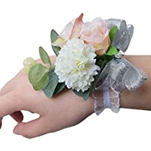 DearHouse 2Pcs Peony Boutonniere Buttonholes and Wrist Corsage Wristband