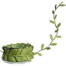 30 Yards Long 1 Roll Green Aspidistra Ti Leaf Pattern Poly Satin Waterproof Ribbon 4 Inch Floral Craft Decoration