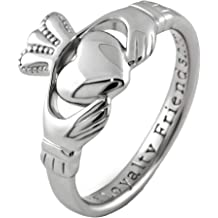 UCTUK March Birth Month Sterling Silver Claddagh Pendant LS-SP91-3 Made in Ireland.