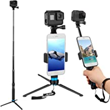 Ricoh Theta S,and Cell Phones YiSeyruo Selfie Stick Extendable Monopod with Tripod Stand for GoPro Hero 8//7//6//5//4//3+//3//2//1//Session Samsung Gear 360,4K Action Camera DJI Osmo Action Camera