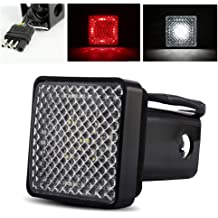 Anzio 15-LED Red Tail Brake Light w// 2 Red Lense Trailer Hitch Receiver Cover for Towing Hauling Truck SUV RV