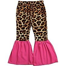 VEKDONE Toddler Girls Ruffle Leggings Leopard Print Bell Bottoms Flare Pants Trousers 1-6 Years
