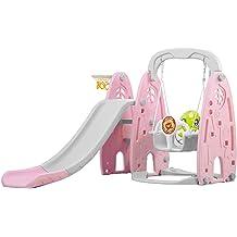 Infant Playset for Indoors /& Outdoor Mosunx Toddler /& Kids Slide and Swing Set Pink