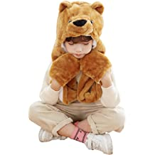 Monkey Critter Cap Plush Animal Hat with Ear Flaps That Button Under the Chin /… Brown