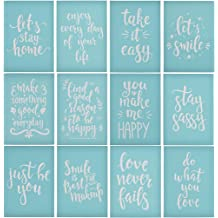 5PCS Letters and Pattern Reusable Sign Stencils for Painting on Wood Making DIY Decoration YeulionCraft Self-Adhesive Silk Screen Printing Stencil
