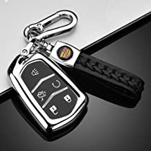 FancyAuto Car Key Cover for Cadillac ABS Auto Key Case Smart Remote Key Protector for Cadillac XTS ATS-L XT4 XT5 CT6 SRX Escalade Key,shield logo,with Key Chain Black