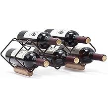 MyGift 5-Bottle Geometric Black Metal Wine Rack
