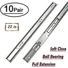 12-22In Soft Close Full Extension Drawer Slides Rear Mount Ball Bearing+Brackets