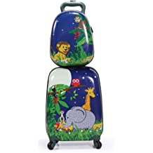 Dinosaur, 18 and 13 2pcs Children Rolling Suitcase Animal Cartoon Pattern Carry On Set with Universal Wheels 18 in with 13 in Cute Cartoon Shoulder Bag Travel Luggage Case Set