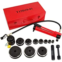 """Comie 15ton 1//2/"""" to 4/"""" Hydraulic Knockout Punch Kit Hand Pump 10 Dies Tool New"""