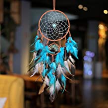 ChasBete Dream Catcher for Girl Blue and White Large Handmade Romantic Unique DreamCatcher Pendant Beads and Feathers Wall Ornament Gift for Bedroom