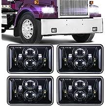 KASLIGHT 4pcs 4x6 Led Headlights w// H4 Socket 4651 Led Headlight Peterbilt Headlights Rectangular H4651 H4652 H4656 H4666 H6545 for Kenworth Freightinger Ford Probe Chevrolet Oldsmobile Cutlass