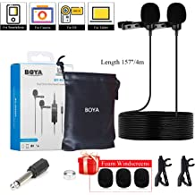 Updated BY-M1 BOYA BY-M1DM 4m Dual-Head Lavalier Lapel Clip-on Microphone for iPhone Samsung OnePlus 7 Pro Smartphones Canon Nikon DSLR Cameras Camcorders Audio Recorder w 2 pcs Free Fur Windshield