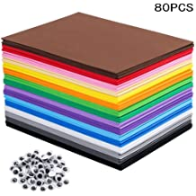 20 Pieces EVA Foam Handicraft Sheets 9 x 12Inch BENBO 10 Colors 2mm Thick Assorted Colorful Crafting Sponge with Stencils Scissor for DIY Classroom Party Kids Art Crafts Projects