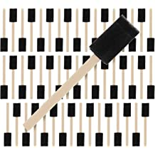 ZXZPC 48 Pcs 1 Inch Foam Paint Brush Set with Wood Handles,Durable and Great for Acrylics Stains Varnishes Art/… Crafts