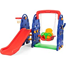 Green Baby Joy 4-in-1 Slide for Kids Multifunctional Climb Household Toddler Play Slide w// Music /& Lights Box Indoor Outdoor Freestanding Slide with Basketball Hoop and Ring Toss Game