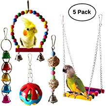Bird Swing Colorful Beads Parrot Standing Perch Hammock Hanging Toy with Bells Cage Accessories for Medium and Small Parrots Finch Lovebird