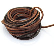 Natural 25 Feet CleverDelights Genuine Leather Cord 1//4 Round