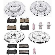 2007-2015 Mazda CX9 Max Brakes Rear Performance Brake Kit KT084632 Fits Premium Slotted Drilled Rotors + Ceramic Pads