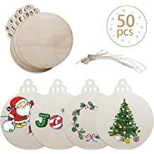 Natural Wood Slices,MSDADA 30 Pcs 2.8-3.1 Unfinished Predrilled Craft Wood Kit with Hole Wooden Circles for Arts and Crafts,Halloween Christmas Ornaments DIY Crafts Wedding Party