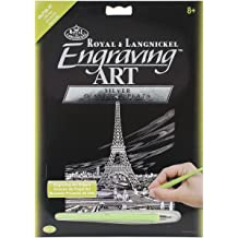 Eiffel Tower 8-Inch by 10-Inch Royal Brush Silver Foil Engraving Art Kit