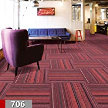 Commercial Carpet Tiles Stick Rug for Office Hotel Meeting Room Kids Bedroom Decor with Non-Slip PVC Backing Free Tapes 20x20inch,Red Color,28tiles