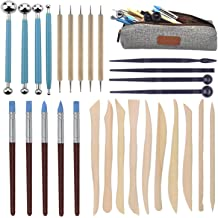 Clay Sculpting Tools Set 14 Pcs,Sageme 10 Pcs Modeling Clay Rubber Brushes Silicone Sculpting and 4 Pcs Polymer Clay Balls Tools Double Ended Dotting Tool Kit 14 Pcs Kit