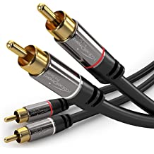 3.2ft//1M,Black SKW High-end Audio Cable RCA Male to 2RCA Male Stereo Audio Cable,High Fidelity Signal Cable with OD 6.0mm