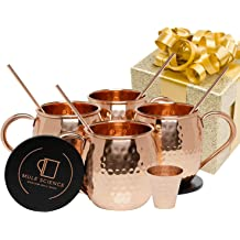 Bar Drinkware Helps Keep Drinks Colder 1 Shot Glass Classic Drinking Cup Set Home 16 oz 4-Pack Kitchen Longer Food-Grade Safe Lining with 1 Shot Glass Moscow Mule Copper Mugs with Handles