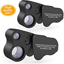 Coins Gem Stamps Jewelers Eye Loupe,2 Pack 30X 60X 90X Small Portable Magnifier with Led and UV Light,Best for Jewelry Diamonds