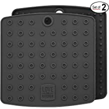 Multipurpose Trivets 2 Pads Premium Silicone Pot Holder for Pots//Pans Cool Kitchen Tools, Black Coaster and More Hot Pad Spoon Rest Featuring Heat Resistant Core Tech UpGood Pro Series