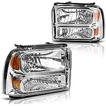 08 09 10 F250 F350 F450 F550 Chrome Housing Clear Lens Reflector Headlights