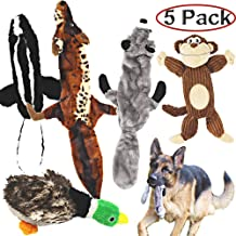 5 Pack Dog Toys Crinkle Dog Toys for Small Dogs Durable Dog Chew Toys Plush Cute Animals Natural Puppy Toys for Teething Pet Toys with 2 Squeak Balls Mademax Dog Squeaky Toys No Stuffing