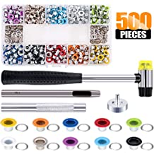 Metal Eyelets Set with Install Tools Kit in Storage Box for Clothes Shoes Bag Crafts DIY Projects 4 Colors FASHIONROAD 400 Sets 1//4 Inch Grommets Kit