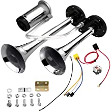Red UTSAUTO 12V 150db Air Horn with Compressor 18 Inches Single Trumpet Truck Air Horn Kit for Any 12V Vehicles Trucks Lorrys Trains Boats Cars Motorcycle