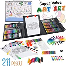 KIDDYCOLOR 150 Piece Deluxe Art Creativity Set for Kids with Plastic Art Case christmas gift