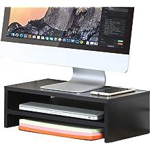 "Computer Monitor Riser 21.3/"" Laptop Stand Desktop Organizer Printer Holder Black"