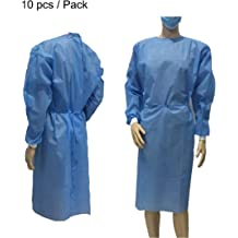 10 Pack Disposable Isolation Gown 10 pack/—68.9~70.08 One-Piece Isolation Gowns for Fluid Resistant Elastic Cuffs 【White】
