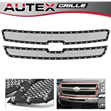 HEKA Bumper Grille Insert for 2015-2019 Chevy Silverado 2500 3500 HD Stainless Steel Black Powder Coated